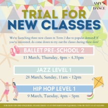 Term 2 Trials for New Classes!